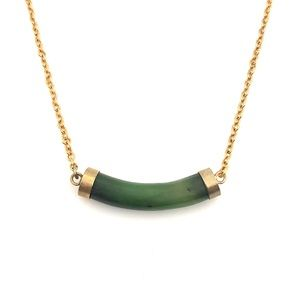 Jewelry - Vintage Nephrite Jade Curved Tube Necklace Gold